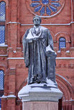 Smithson Statue Snow Smithsonian Washington DC. Smithson Statue After the Snow Smithsonian Castle Mall Washington DC Royalty Free Stock Photos