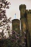 Smithsonian Castle Magnolias Washington DC. Smithsonian Castle with Magnolias Night Washington DC Stock Image