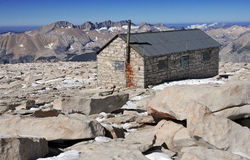 Smithsonian Hut on Summit of Mount Whitney. Sierra Nevada Mountain Range, California royalty free stock images