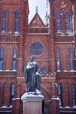 Smithsonian Washington DC van de Sneeuw van het Standbeeld van Smithson stock afbeelding