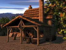 Smithy At Sunset. In the town square the huge Blacksmith, stripped to the waist, works at his forge as the sun sets vector illustration