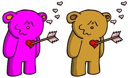 Smitten bear with arrow in heart Stock Images