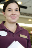 Smling Friendly Waitress In Diner Stock Image