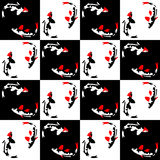 Sömlös abstrakt geometrisk modell på en schackbakgrund med fisken Royaltyfri Bild