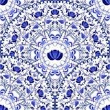 Sömlös bakgrund av runda modeller Rysk nationell stil Gzhel för blå prydnad Royaltyfria Bilder