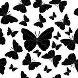 Sömlös bakgrund av svartvita fjärilar Royaltyfri Fotografi
