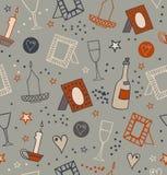 Sömlös bakgrund för romantiskt klotter med fotoramar, stearinljus, hjärtor, stjärnor, bägare och flaskor av vinrankan Ändlös hand Royaltyfria Bilder