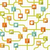Sömlös bakgrund för utbildning med plana symboler Arkivfoto