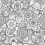 Sömlös bakgrund i vektor med klotter, blommor och paisley Arkivfoton