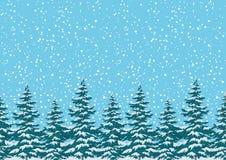Sömlös bakgrund, julgranar med snö Arkivfoton