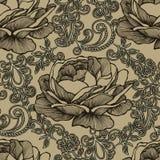 Sömlös bakgrund med den blom- prydnaden och rosor Vektorillus Arkivfoton