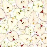 Sömlös bakgrund med äpplen och päron. Vektor. Arkivbilder