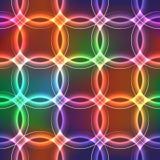 Sömlös bakgrund med shinning plasmacirklar med neoneffekt Arkivbild
