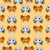 Sömlös bakgrund med små tigrar Arkivbilder