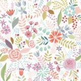 Sömlös blom- färgrik hand dragen modell Royaltyfria Bilder