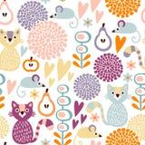 Sömlös blom- modell för gullig färgrik tecknad film med djur katt och mus Royaltyfria Bilder