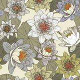 Sömlös blom- modell med blommande näckrors Arkivfoto