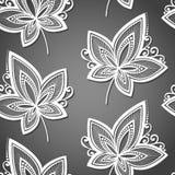 Sömlös blom- modell med sidor Arkivbild