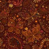 Sömlös blom- motivbakgrund för tappning med fjärilar Royaltyfri Bild