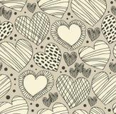 Sömlös dekorativ modell med hjärtor Ändlös hand dragen gullig bakgrund Utsmyckad textur med många detaljer Royaltyfri Fotografi