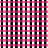 Sömlös ginghammodell geometrisk bakgrund Svart-, rosa färg- och vitband Arkivfoto