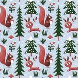 Sömlös gullig vintermodell som göras med ekorren, kanin, champinjon, buskar, växter, snö, träd Arkivbild