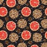 Sömlös julmodell med den amerikanska kakor, anis och grapefrukten Vektorn illustrerade doftande ferietegelplattabakgrund Royaltyfri Fotografi
