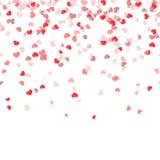 sömlös konfettihjärtabakgrund Arkivfoto