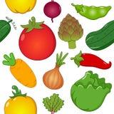Sömlös modell för grönsaksymboler Royaltyfri Foto