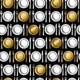 Sömlös modell för guld- matredskapsymboler Arkivfoto