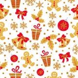 Sömlös modell för jul med klotterklockor, bollar, snöflingor Royaltyfri Bild
