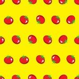 Sömlös modell för röd tomatmaterielvektor på gul bakgrund för tapet, modell, rengöringsduk, blogg, yttersida, textur, diagram & t Royaltyfria Bilder