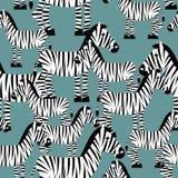 Sömlös modell för sebra Savannah Animal prydnad Te för löst djur Arkivbild