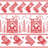Sömlös modell för skandinavisk nordisk jul med det ljust rödbrun brödhuset, strumpor, handskar, ren, snö, snöflingor, träd, Xmas Royaltyfri Foto