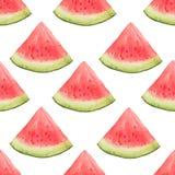 Sömlös modell för vattenfärg av vattenmelonskivor Arkivfoto