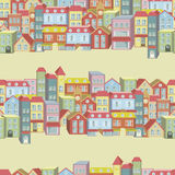 Sömlös modell för vektor med hus och byggnader Royaltyfri Bild