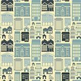 Sömlös modell för vektor med hus och byggnader Royaltyfria Bilder