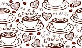 Sömlös modell för vektor med kaffekoppar, hjärtor och kaffebönor Arkivfoto
