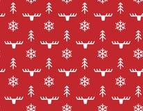 Sömlös modell för vinterjul med hjortar Arkivfoton