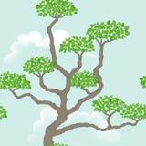 Sömlös modell med det abstrakta trädet Royaltyfria Bilder