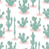 Sömlös modell med kaktuns Arkivfoton