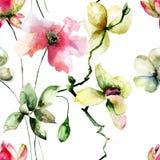 Sömlös modell med original- blommor Arkivbilder