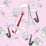 Sömlös modell med Paris, blommor och music-01 Arkivbild
