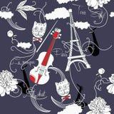 Sömlös modell med Paris, blommor och music-02 Fotografering för Bildbyråer