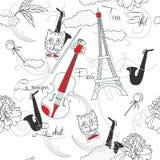 Sömlös modell med Paris, blommor och music-03 Arkivfoto