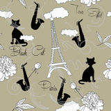Sömlös modell med Paris, blommor och music-05 Royaltyfria Foton