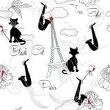 Sömlös modell med Paris, blommor och music-08 Arkivbild