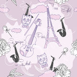 Sömlös modell med Paris, blommor och music-04 Royaltyfri Fotografi