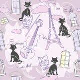 Sömlös modell med Paris och music-04 Arkivbild