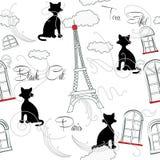 Sömlös modell med Paris och music-08 Arkivfoto